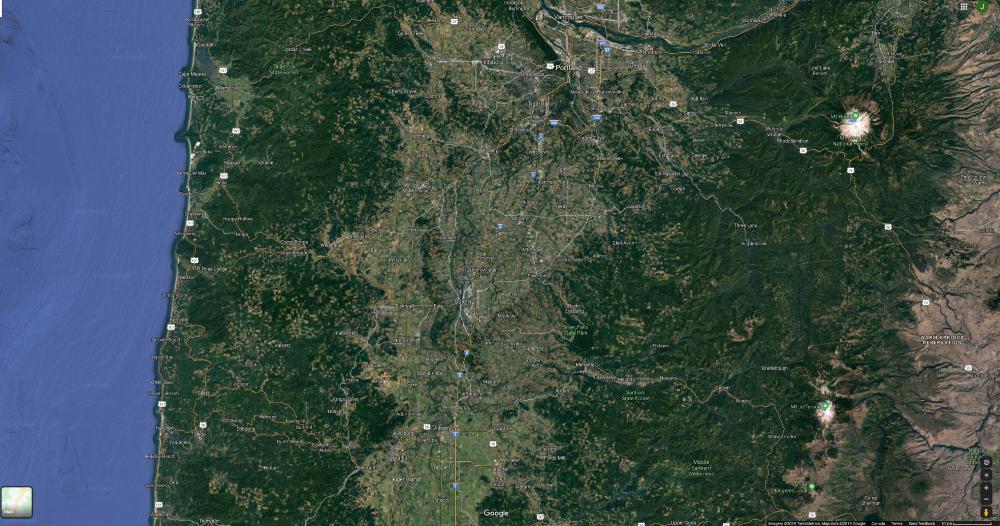 google satellite image oregon deforestation