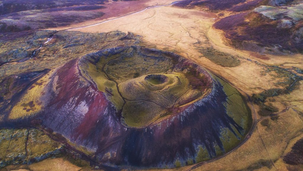 iceland volcano in field