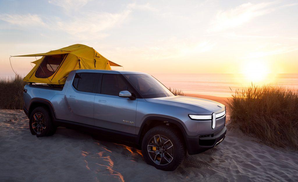 rivian r1t beach camping
