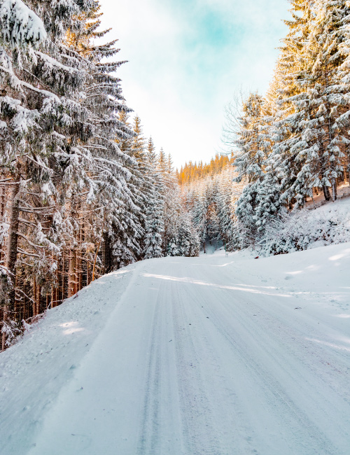 snowy winter driving road