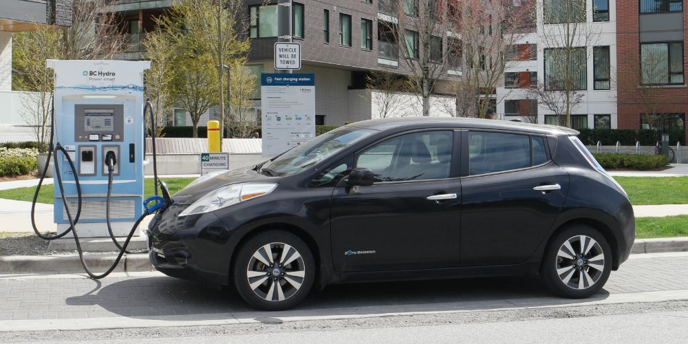 Charging a Nissan Leaf at a BC Hydro Fast Charger Station