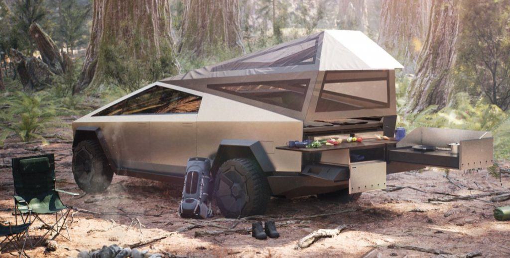 camping in tesla cybertruck