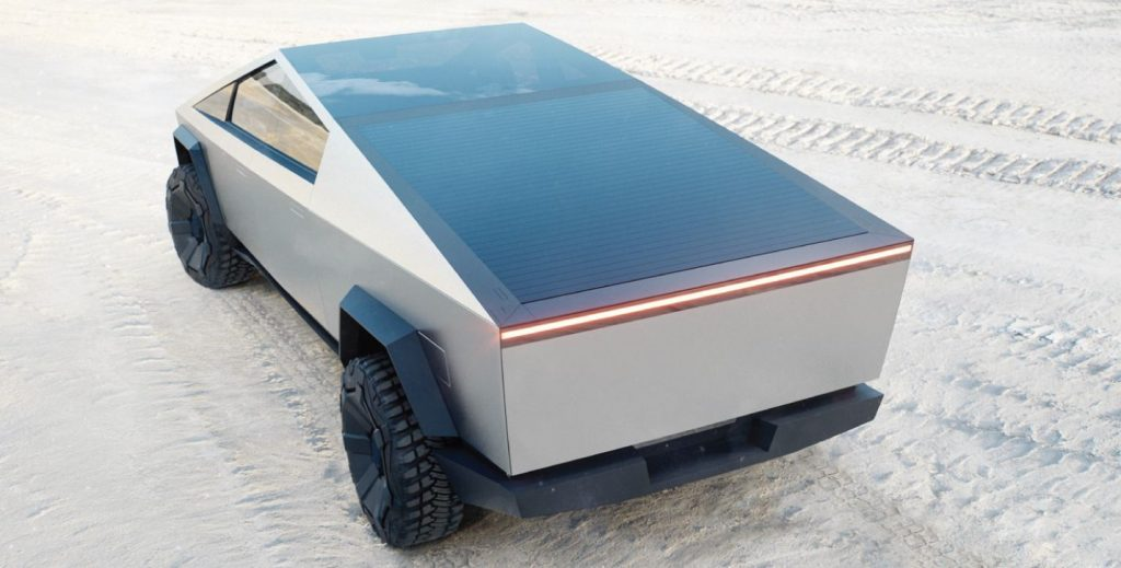 cybertruck with solar panel cover