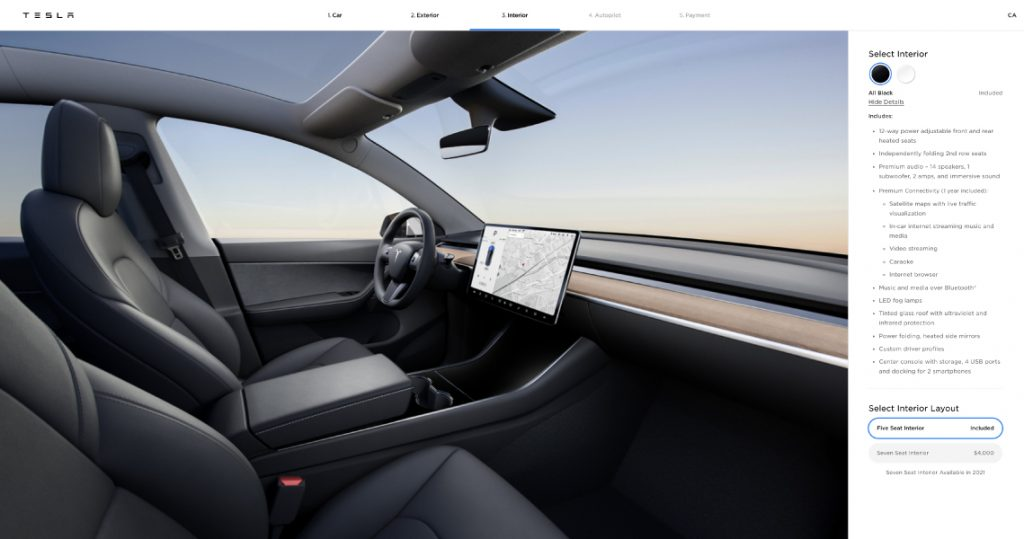 tesla model y black interior