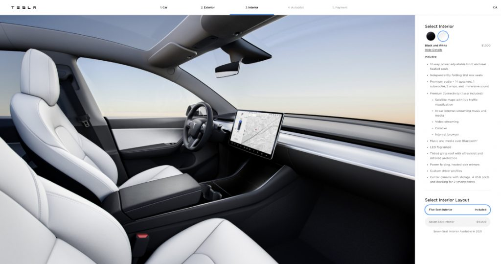 tesla model y white interior
